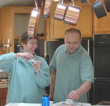 Peter and Monica fixing breakfast